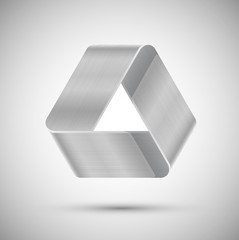 Metal optical illusion triangle, vector