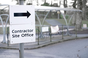 Contractor site office construction sign direction arrow