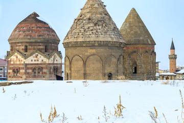 Famous historical three kumbets (uc kumbetler) in Erzurum, Turkey