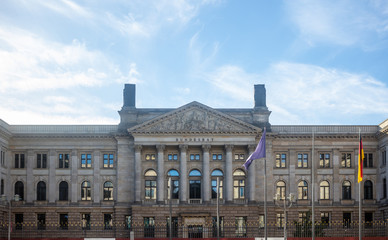 Berlin, Bundesrat building under german cloudy sky. Prussian House of Lords in panoramic view.