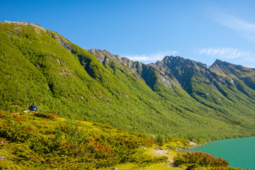 Hike in Norway mountains, Svartisen Glacier, Norway