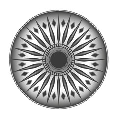 single-color round ornament. black tattoo in the form of sun. isolated on white background
