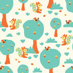 Cute squirrels and birds in the forest. Flat Scandinavian style. Seamless kids vector pattern for fabric, kids decor, gift wrapping, wallpaper, childrens room or clothing. Vector illustration