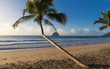 The Diamond rock and Caribbean beach , Martinique island.