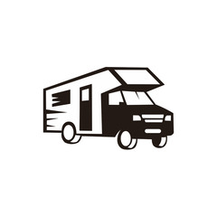Wohnmobil und Camping and Tractor logo silhouette,car traveling