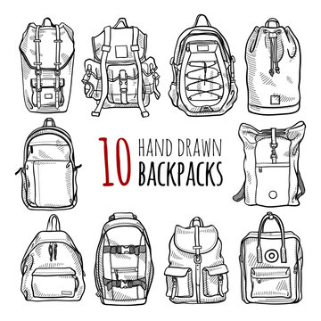 Set of 10 fashion backpacks sketches. Vector hand drawn isolated illustration