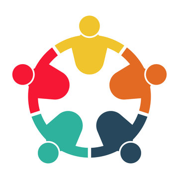 People logo. Group teamwork symbol of five persons