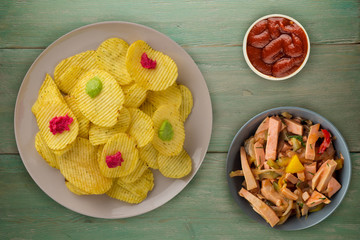 potato chips on a plate. chips on a wooden