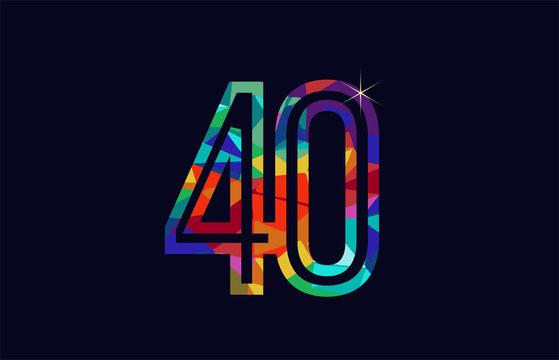 rainbow colored number 40 logo company icon design