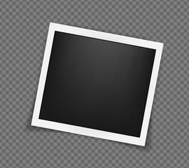 Square realistic frame template with shadows isolated on transparent background. Vector illustration