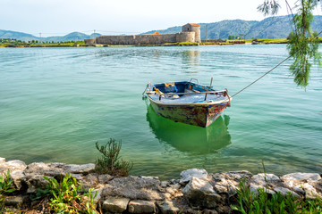 Boat and Castle in Butrint, Albania
