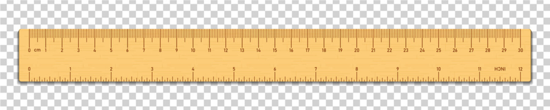 Realistic wooden tape ruler isolated on transparent background. Double sided measurement in cm and inches. Vector illustration