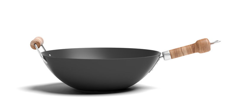 Empty wok with wooden handles isolated on white background. 3d illustration
