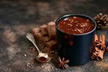 Poster de jardin Chocolat Homemade spicy hot chocolate in a black cup.