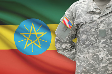 American soldier with flag on background - Ethiopia
