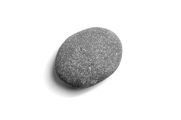 Pebble. Smooth gray sea stone isolated on white background