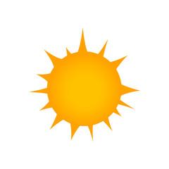 Flat sun Icon. Summer pictogram. Sunlight symbol. Rays. Vector illustration isolated on white background.