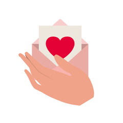 hand with letter envelope isolated icon