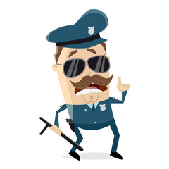 funny cartoon policeman with truncheon is giving important information