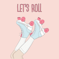 Vector vintage  skating poster with motivational typography. Hand drawn roller skates sketch illustration with quote. 80s, 90s Party decoration.
