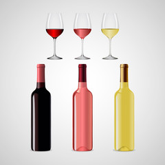 Set of bottles of red and white wine and two wine glasses. Vector illustration