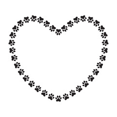 Heart shaped frame made of paw prints