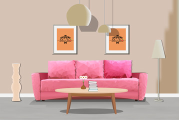 Illustration of a pink sofa in the interior. Polygon triangle. Interior of the room with furniture. Living room illustration.