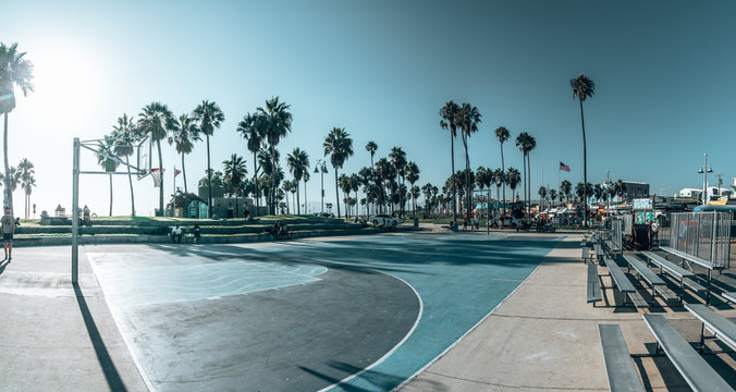 June 15, 2018. Los Angeles, USA. Basketball court at the Venice beach in Los Angeles. Beautiful summer spirit. Sport events by the ocean.