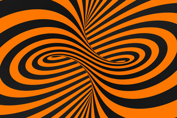 Tunnel optical 3D illusion raster illustration. Contrast lines background. Hypnotic stripes ornament. Psychedelic, abstract art