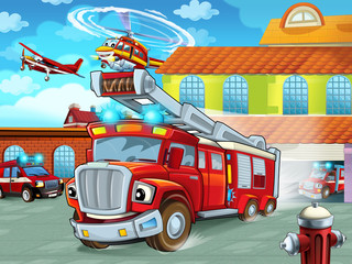 cartoon firetruck driving out of fire station to action - different fireman vehicles - illustration for children