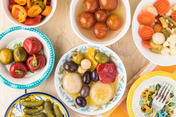 Variety of pickled vegetables.