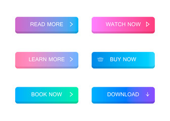 Set of modern material style buttons. Different gradient colors. Modern vector illustration flat style