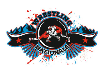 WRESTLING LOGO SPORT NATIONALS