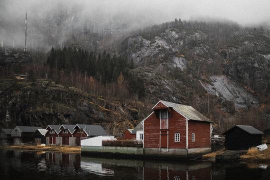 Red cottage in Fjaerland village in Norway