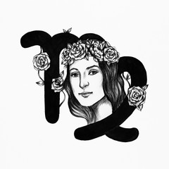 Hand drawn horoscope symbol of Virgo illustration