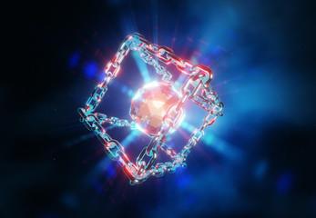 Rotating blockchain technology behind Bitcoin. Data transfer, atom of information, chain explosion, 3d illustration