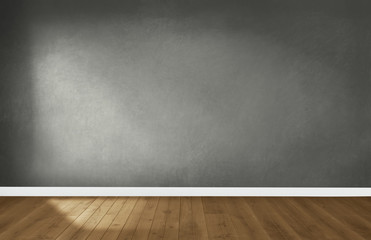 Foto op Canvas Wand Gray wall in an empty room with a wooden floor