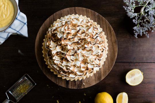 Lemon meringue pie food photography