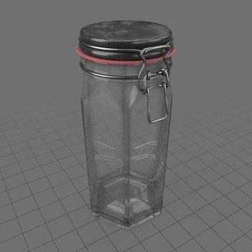 Tall hexagon lock jar