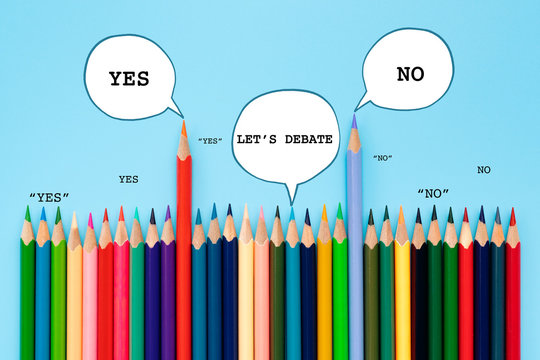 Debate, dialog, communication and education concept. color pencil talking about political opinions with speech bubbles