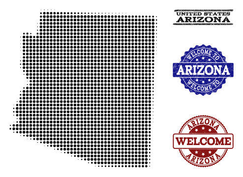 Welcome composition of halftone map of Arizona State and rubber seals. Halftone map of Arizona State designed with black spheric dots.