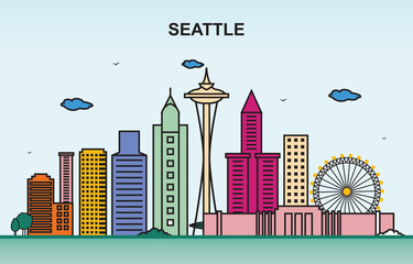 Seattle City Tour Cityscape Skyline Colorful Illustration