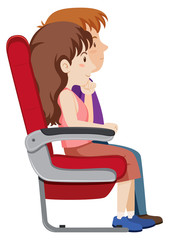 Couple on the plane seat