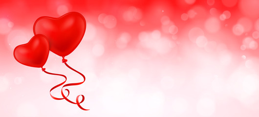 Herz Luftballons mit Bokeh Hintergrund und Textfreiraum - Banner