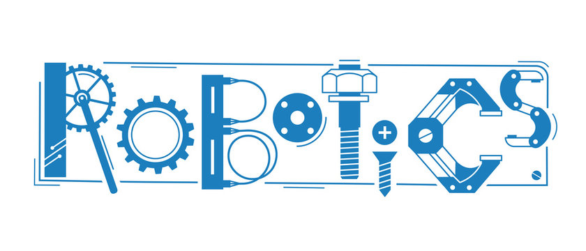 Robotics word. The inscription and letters are stylized in the form of details of robots and mechanisms.