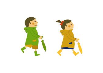 レインコートを着た子供。 雨のイメージイラスト。 梅雨の季節の為のイラストレーション。 子供と雨のイラストレーション。 季節のクリップアート。