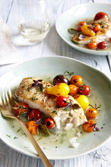 Fish with cherry tomatoes