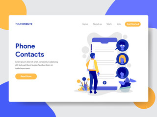 Landing page template of Phone Contacts Illustration Concept. Modern flat design concept of web page design for website and mobile website.Vector illustration