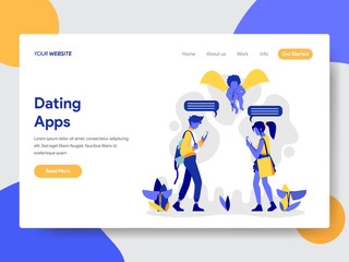 Landing page template of Couple with Dating Apps Illustration Concept. Modern flat design concept of web page design for website and mobile website.Vector illustration