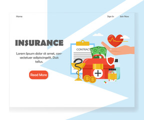 Vector insurance website landing page design template